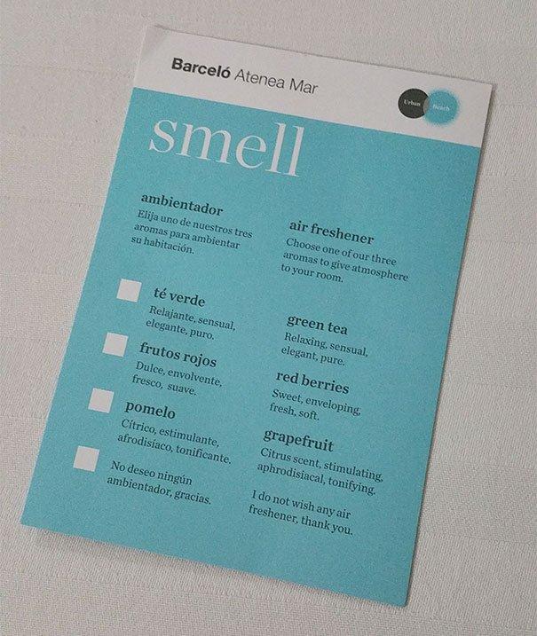 Une fiche à remplir pour indiquer l'odeur souhaitée dans la chambre