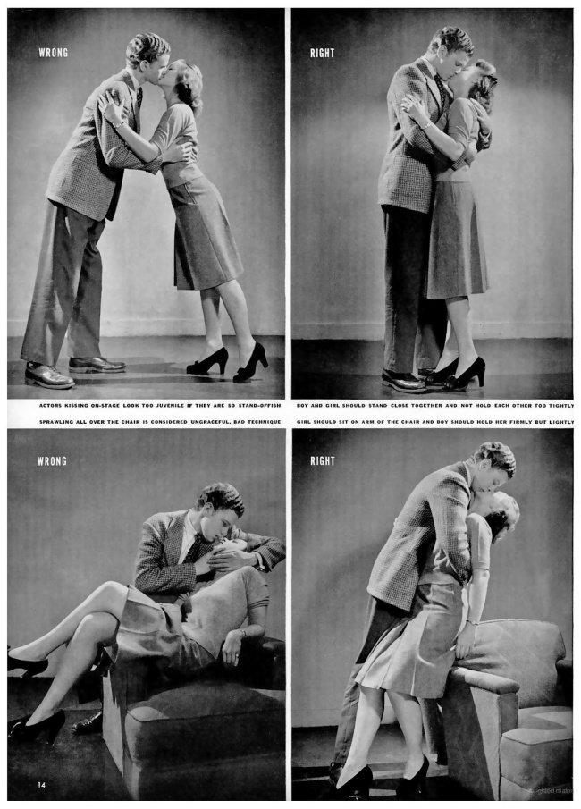 La bonne et mauvaise façon d'embrasser en 1942