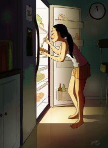 Je peux grignoter dans le frigo quand je veux