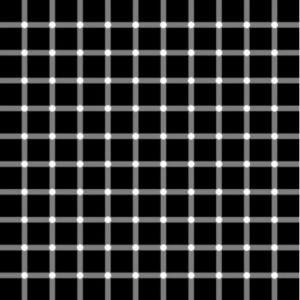 Voyez-vous les points noirs entre les carrés?