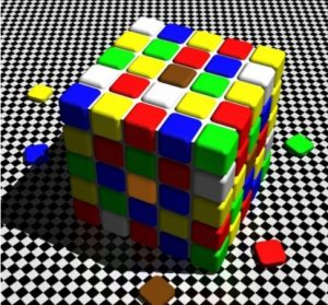 Quelle est la couleur des carrés au centre des deux faces?