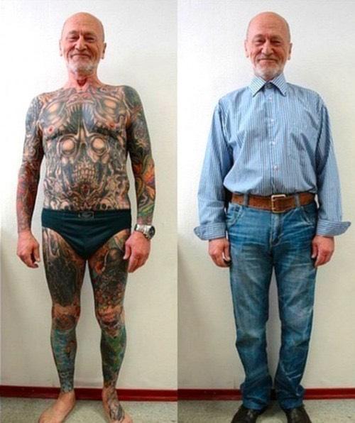 On peut mettre des vêtements corrects pour cacher les tatouages en cas de besoin.