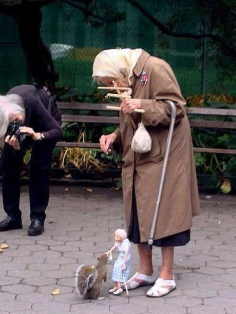 Deux mamies et un écureuil