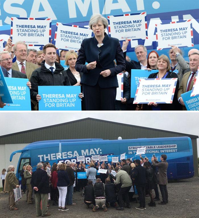 La chef conservatrice Theresa May lance l'autobus de campagne du parti à Northumberland