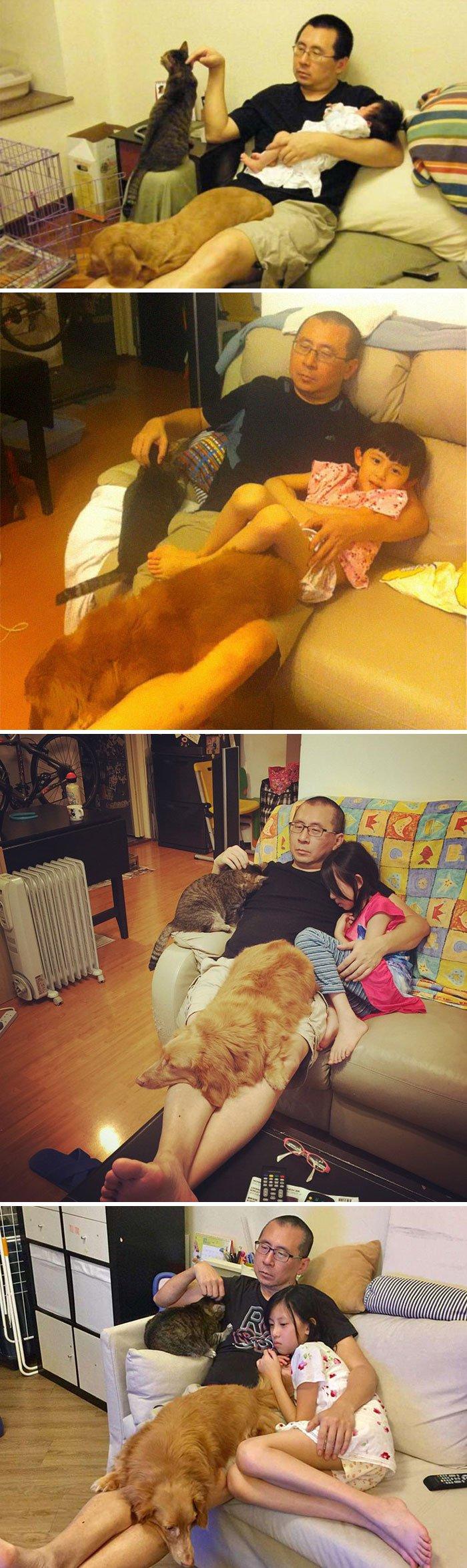 <b>Un père et sa famille avec leurs animaux de compagnie – 10 ans avant et après</b>