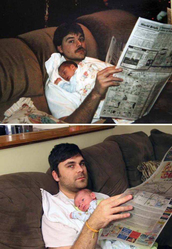 <b>Ce jeune papa rend hommage à son père tragiquement disparu dans un accident de voiture, en prenant la pose avec son fils. Son père l'avait fait jadis avec lui.</b>