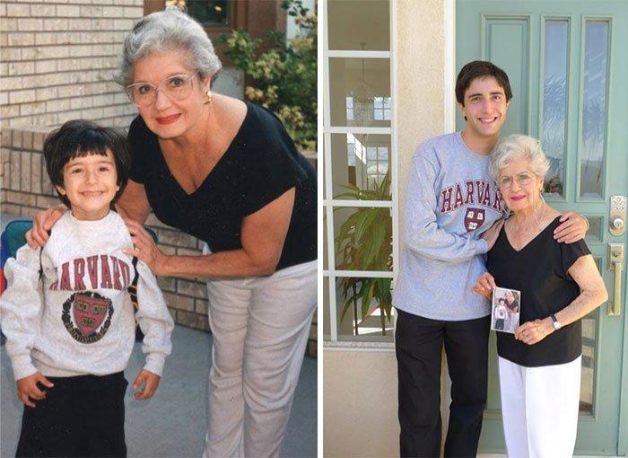 <b>Après sa première rentrée scolaire, il se fait photographié avec sa grand-mère après avoir obtenu son diplôme</b>
