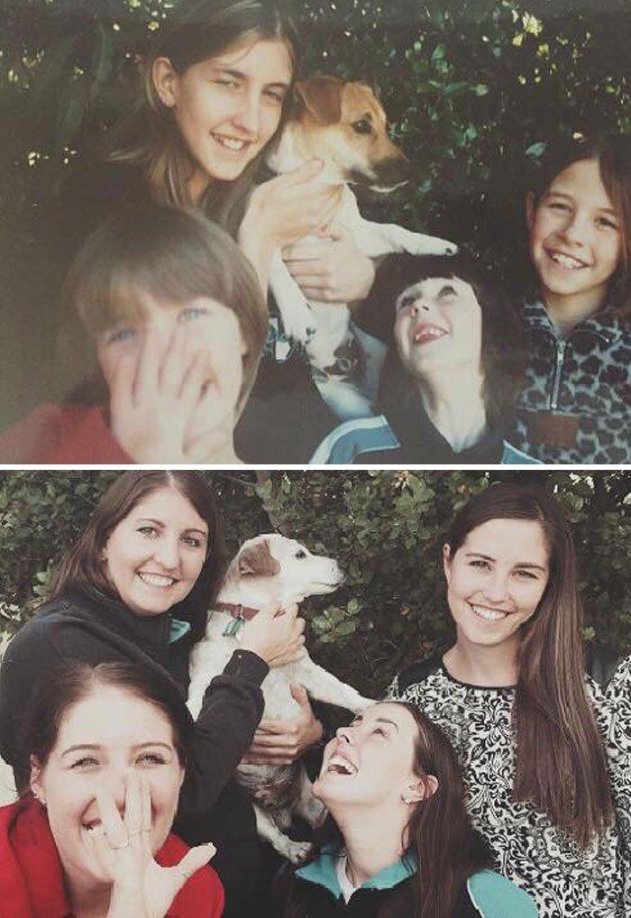 <b>4 sœurs reprennent la pose avec leur chien, 16 ans après</b>