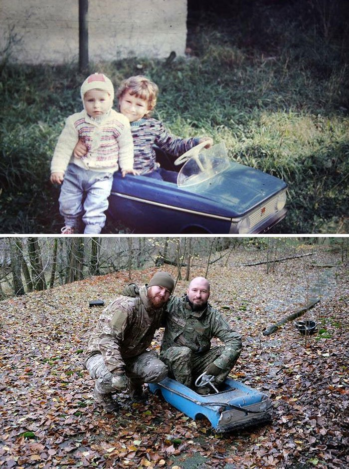 <b>Deux frères ukrainiens retrouvent leur vieille voiture miniature d'enfance</b>