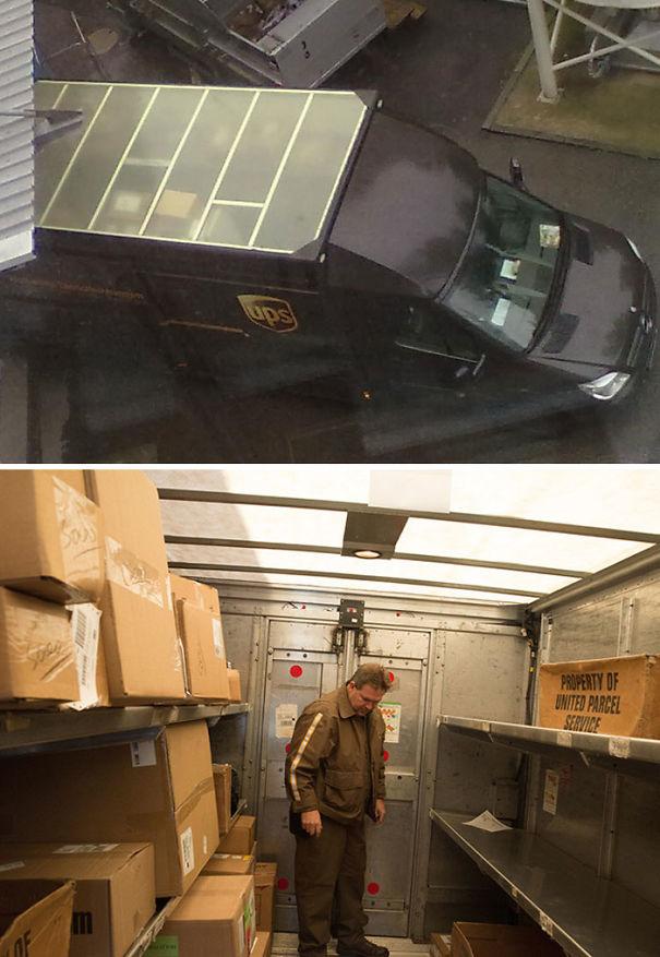 Les toits des camions UPS ne sont pas bruns. Ils sont translucides, donc l'intérieur du camion n'a pas besoin d'être éclairé pendant la journée