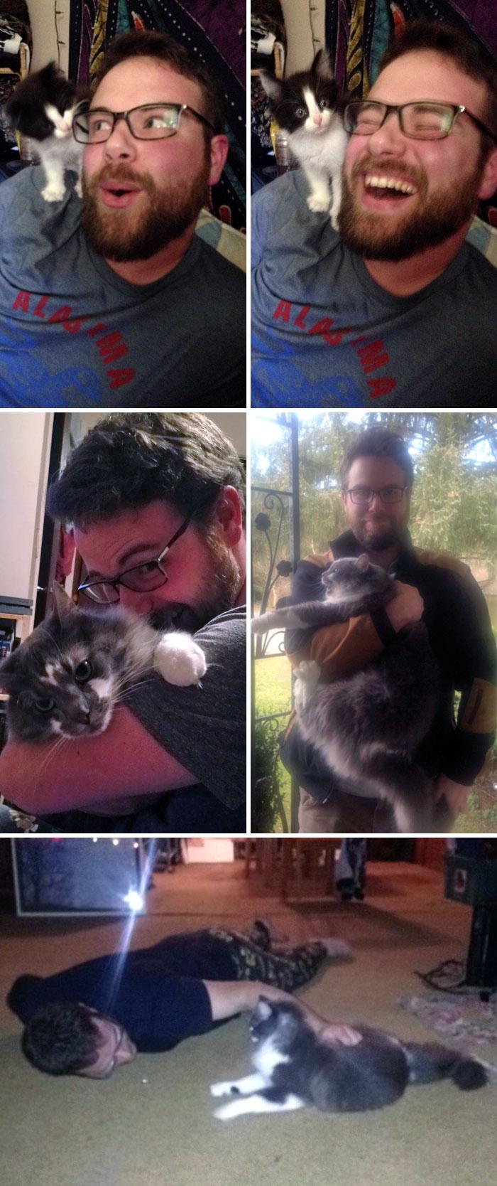 Mon copain a dit qu'il n'aimait pas les chats. Voyez le maintenant…