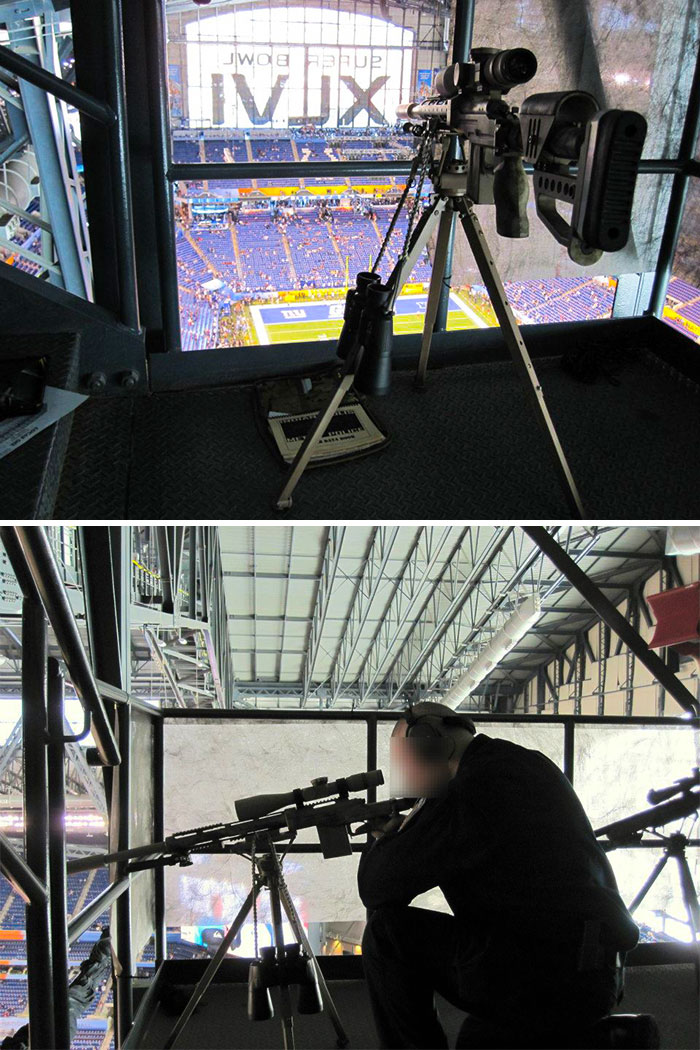 Un sniper de protection au Super Bowl